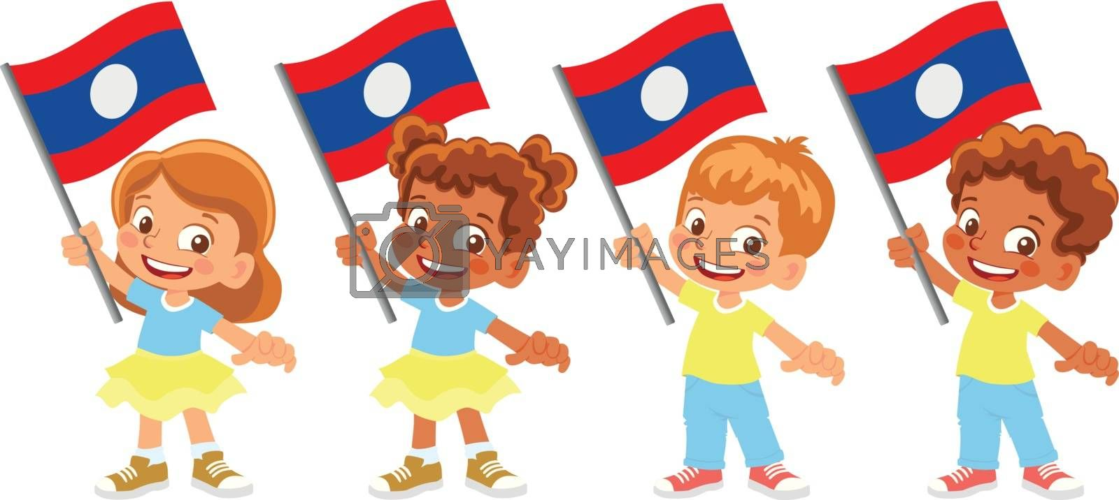 Laos flag in hand set by Visual-Content