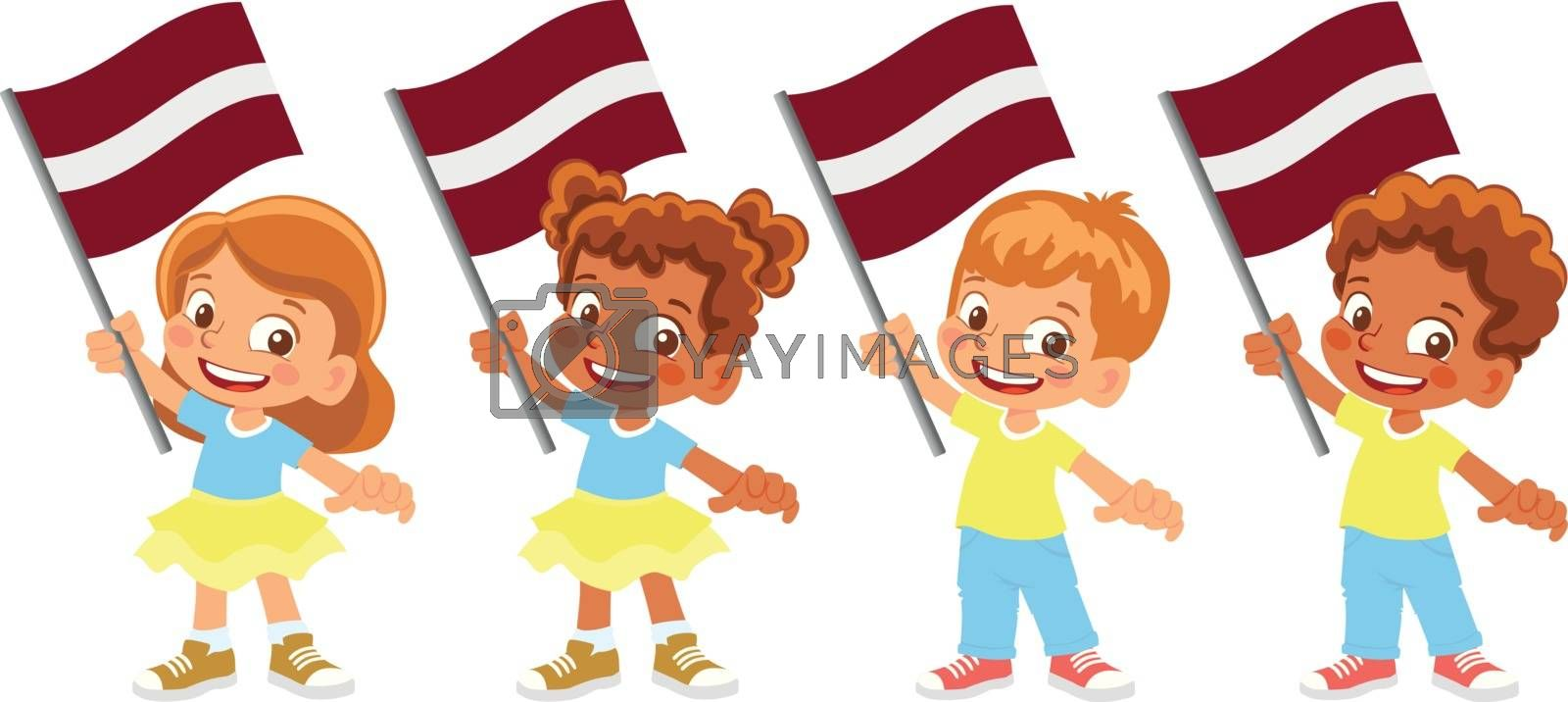 Royalty free image of latvia flag in hand set by Visual-Content