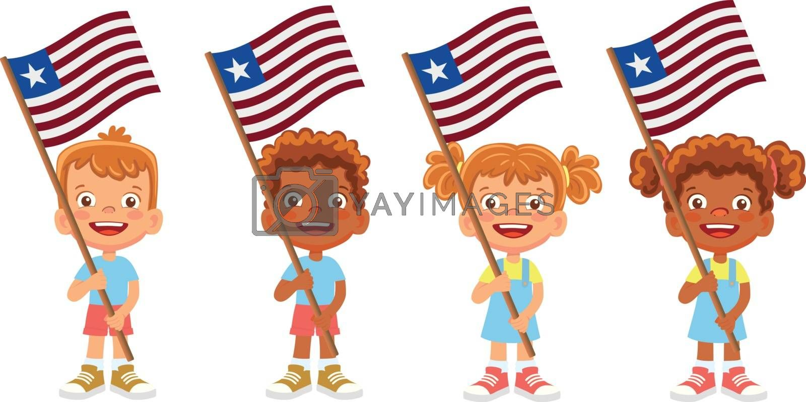 Liberia flag in hand set by Visual-Content
