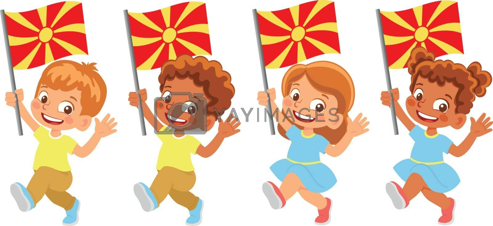 Macedonia flag in hand set by Visual-Content