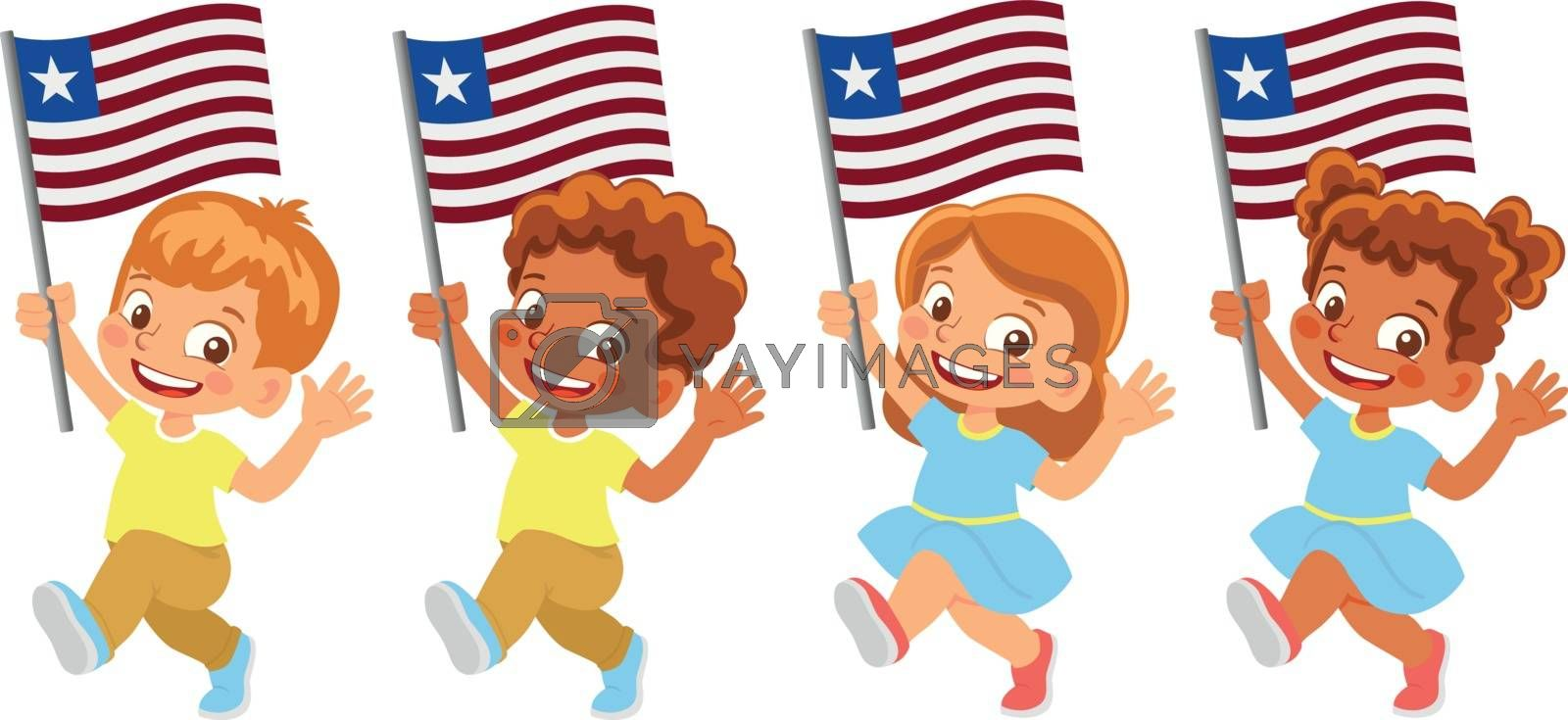 Royalty free image of Liberia flag in hand set by Visual-Content