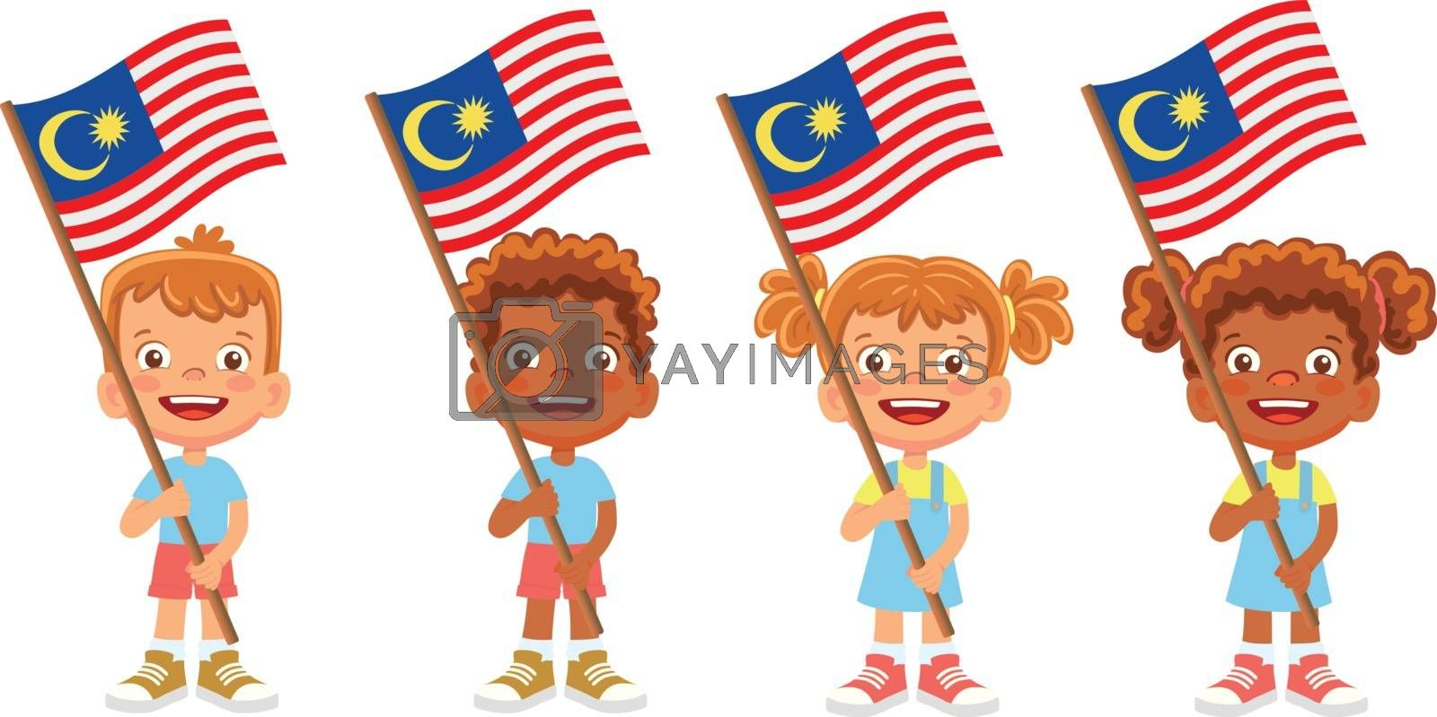 Malaysia flag in hand. Children holding flag. National flag of Malaysia vector