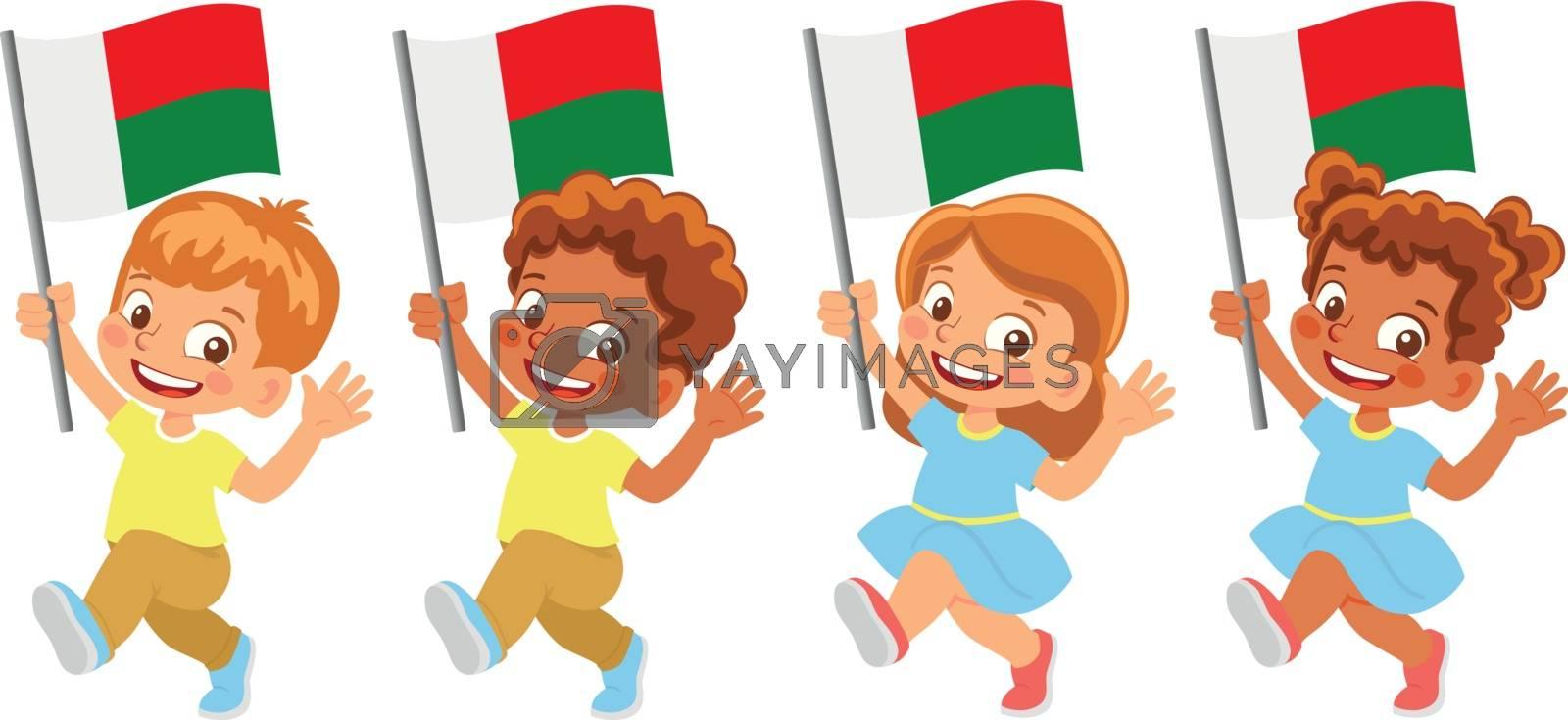 Madagascar flag in hand. Children holding flag. National flag of Madagascar vector