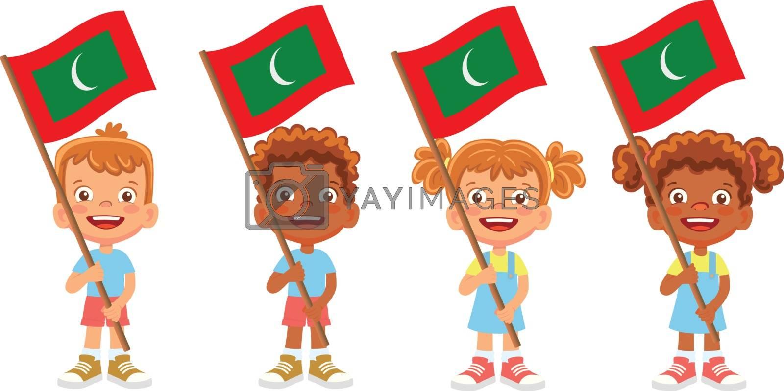Maldives flag in hand. Children holding flag. National flag of Maldives vector