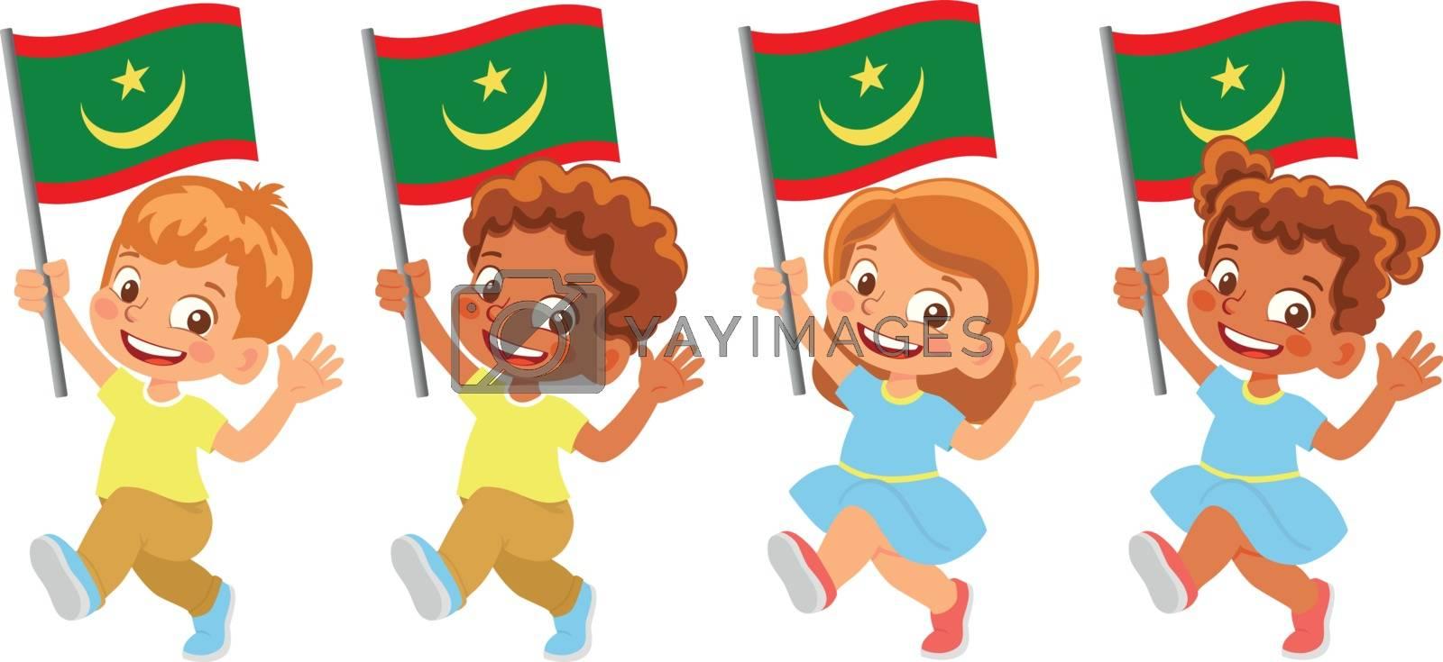 Mauritania flag in hand. Children holding flag. National flag of Mauritania vector
