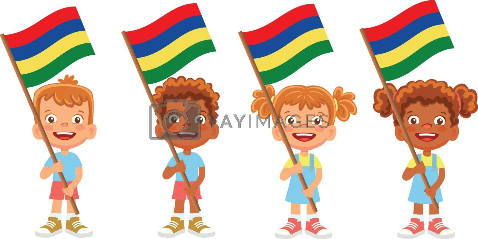 Mauritius flag in hand. Children holding flag. National flag of Mauritius vector