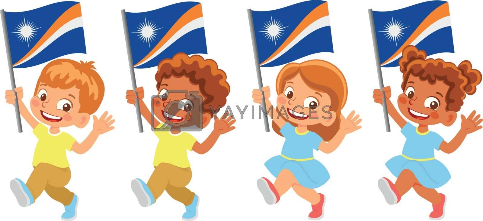 Marshall Islands flag in hand. Children holding flag. National flag of Marshall Islands vector