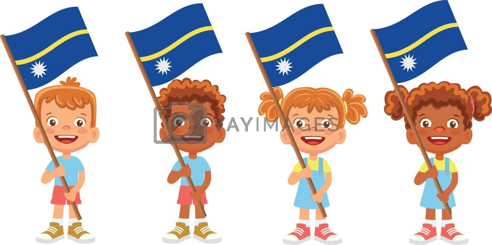 Nauru flag in hand. Children holding flag. National flag of Nauru vector