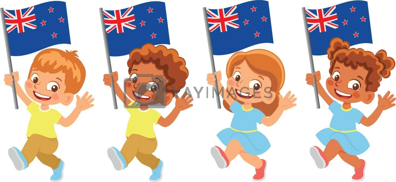 New Zealand flag in hand. Children holding flag. National flag of New Zealand vector