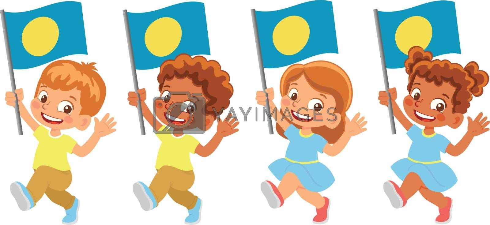 Palau flag in hand. Children holding flag. National flag of Palau vector