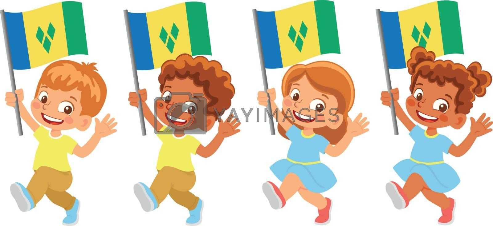 Saint Vincent and the Grenadines flag in hand. Children holding flag. National flag of Saint Vincent and the Grenadines vector
