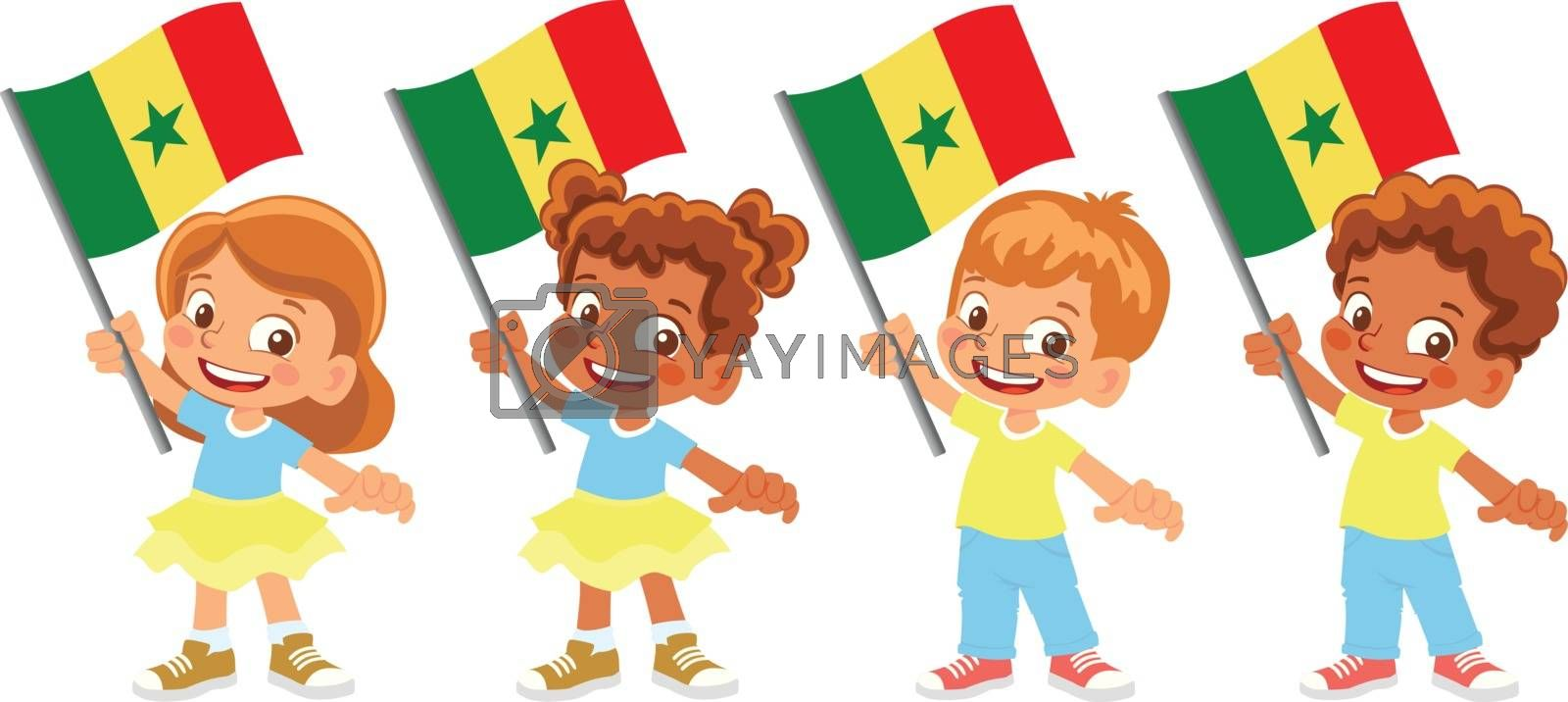 Royalty free image of Senegal flag in hand set by Visual-Content