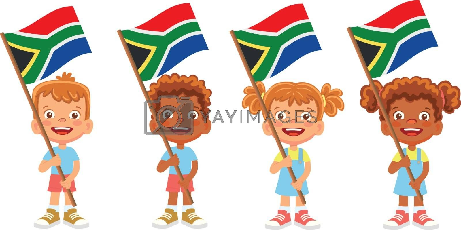 South Africa flag in hand. Children holding flag. National flag of South Africa vector