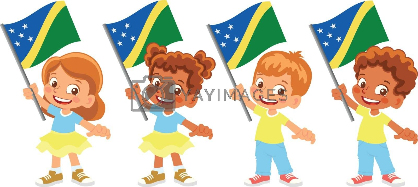 Solomon Islands flag in hand. Children holding flag. National flag of Solomon Islands vector