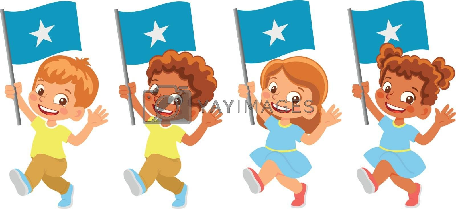 Somalia flag in hand. Children holding flag. National flag of Somalia vector