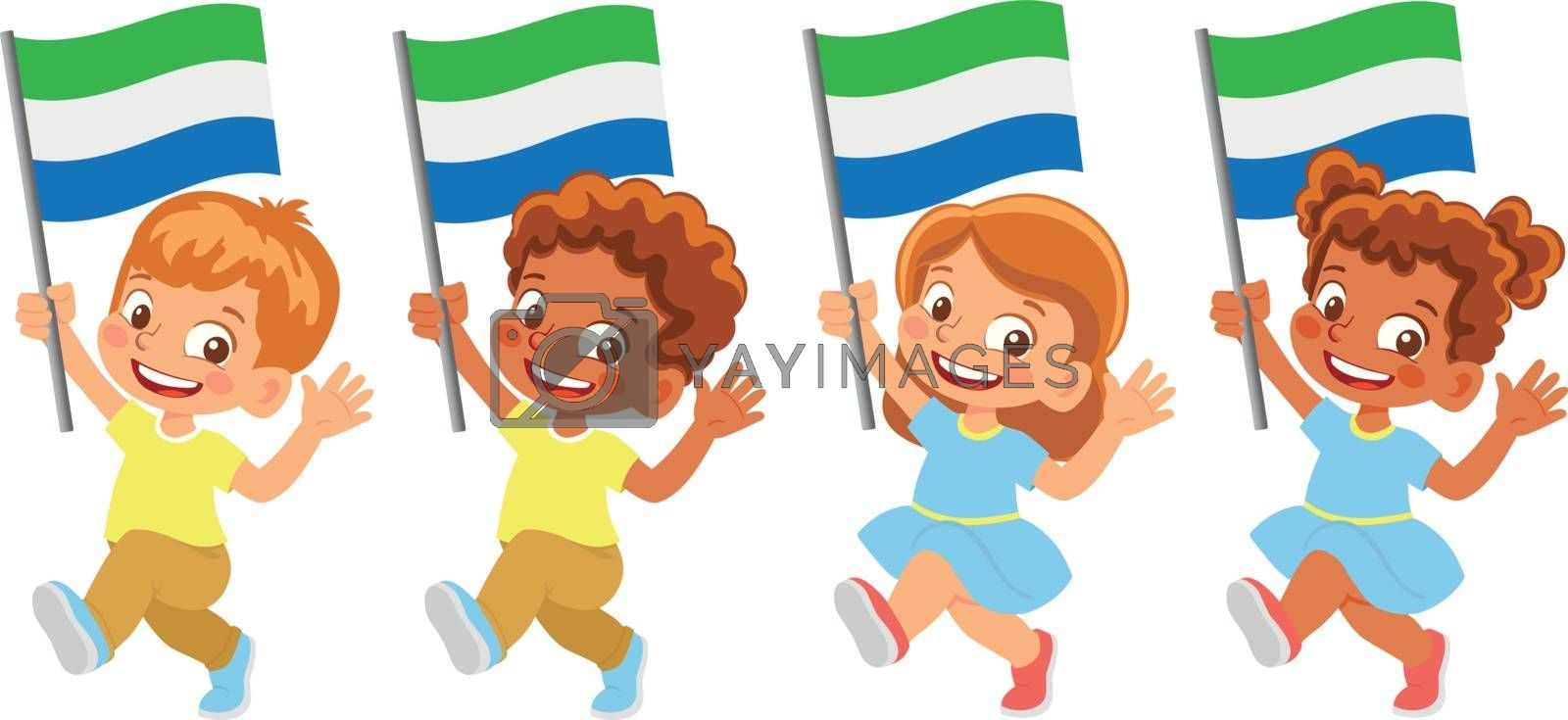 Sierra leone flag in hand Children holding flag. National flag of Sierra leone vector