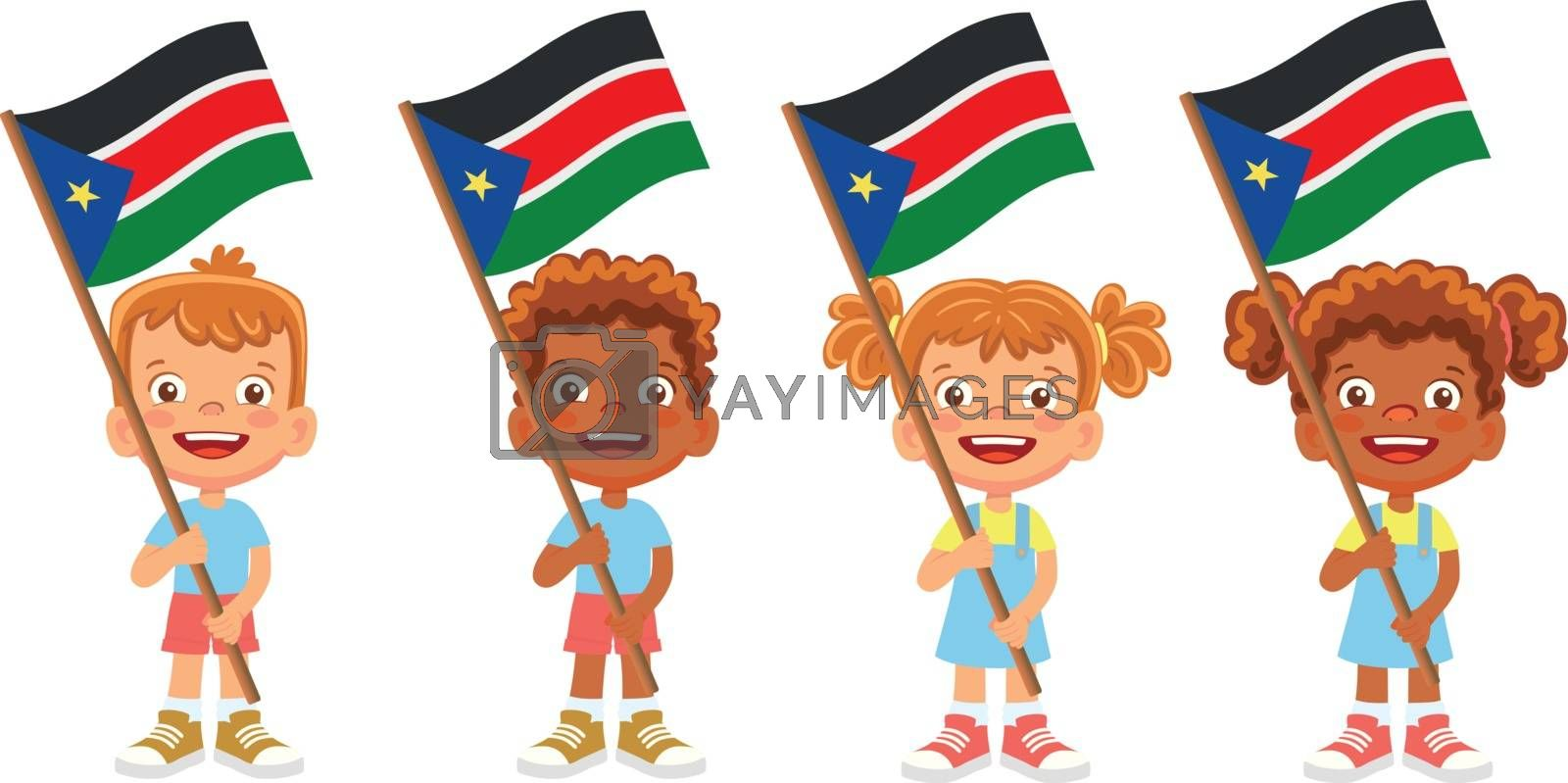 South Sudan flag in hand. Children holding flag. National flag of South Sudan vector