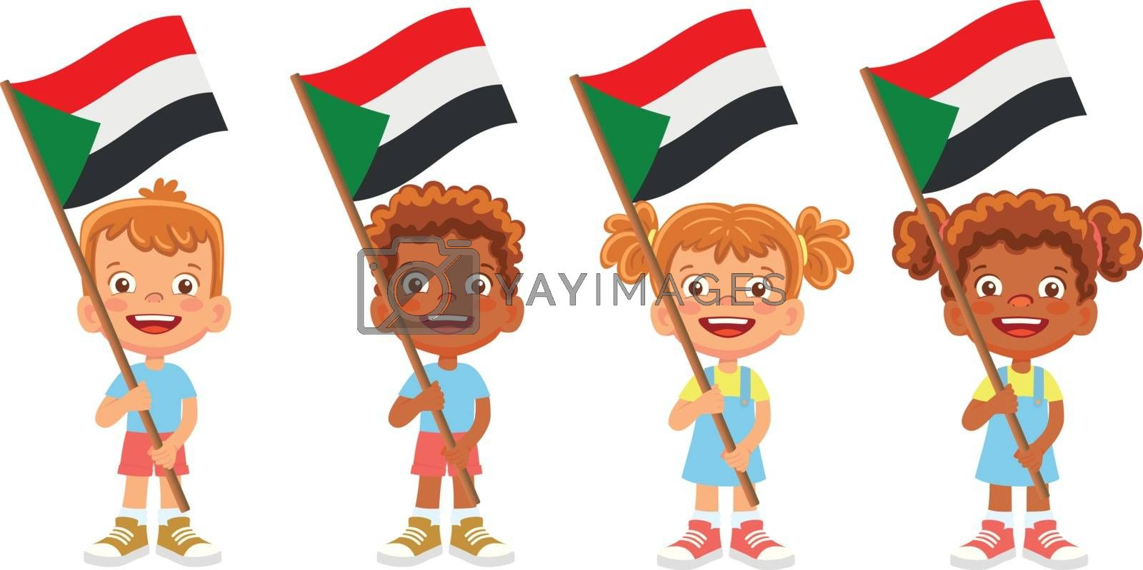 Royalty free image of sudan flag in hand set by Visual-Content