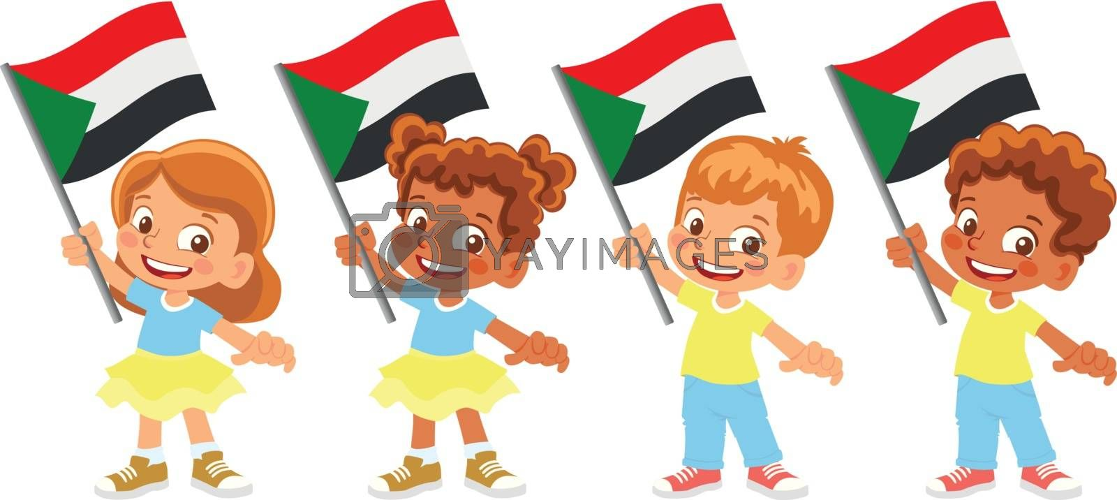 Sudan flag in hand. Children holding flag. National flag of Sudan vector