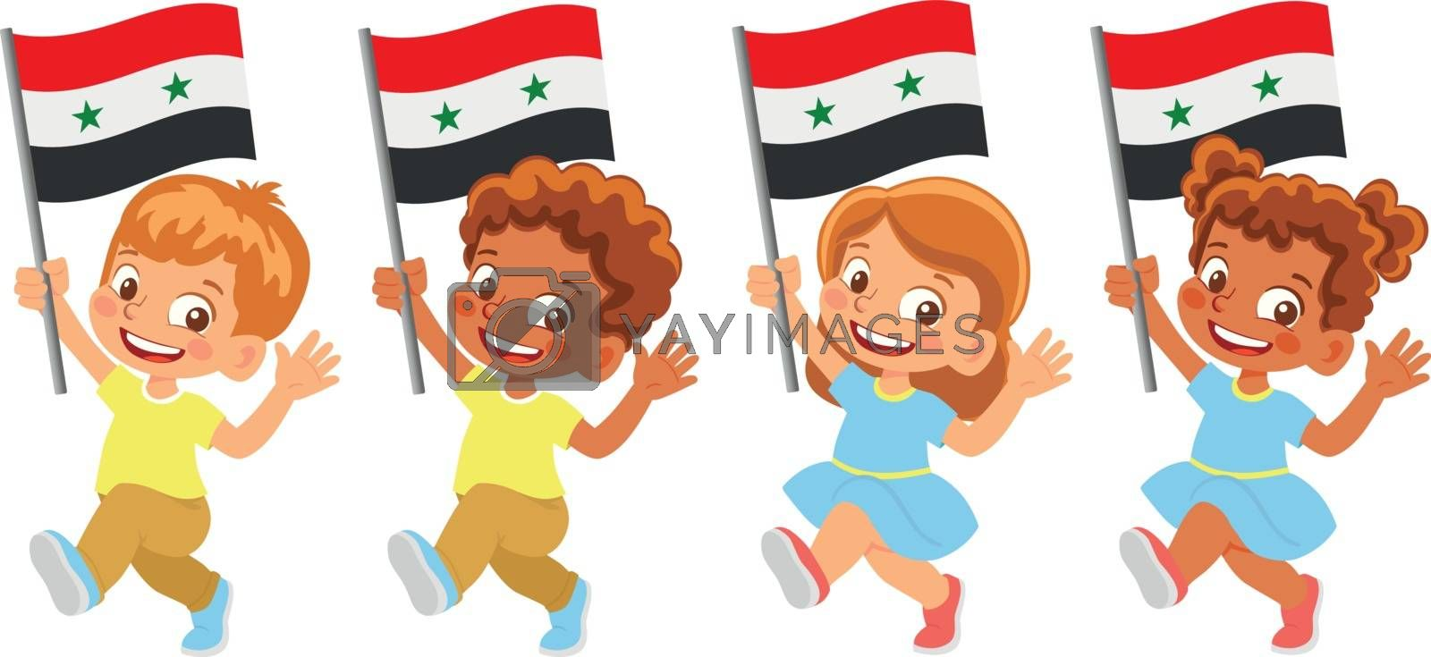 Syria flag in hand. Children holding flag. National flag of Syria vector