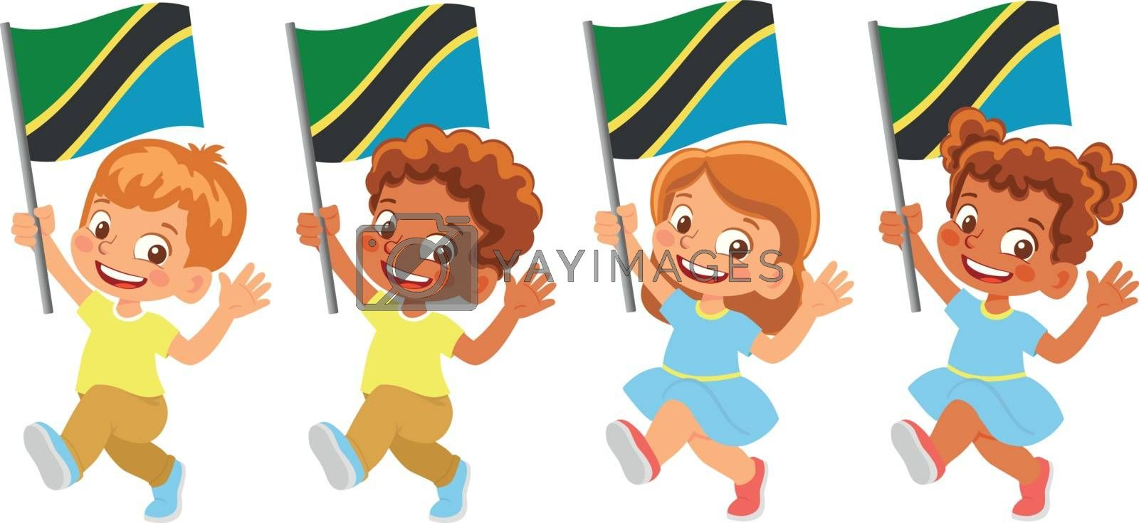 Tanzania flag in hand set by Visual-Content