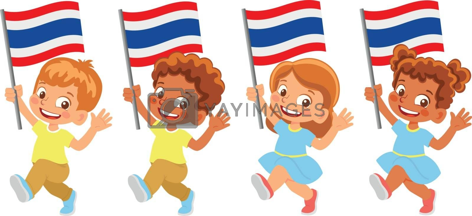 Thailand flag in hand set by Visual-Content