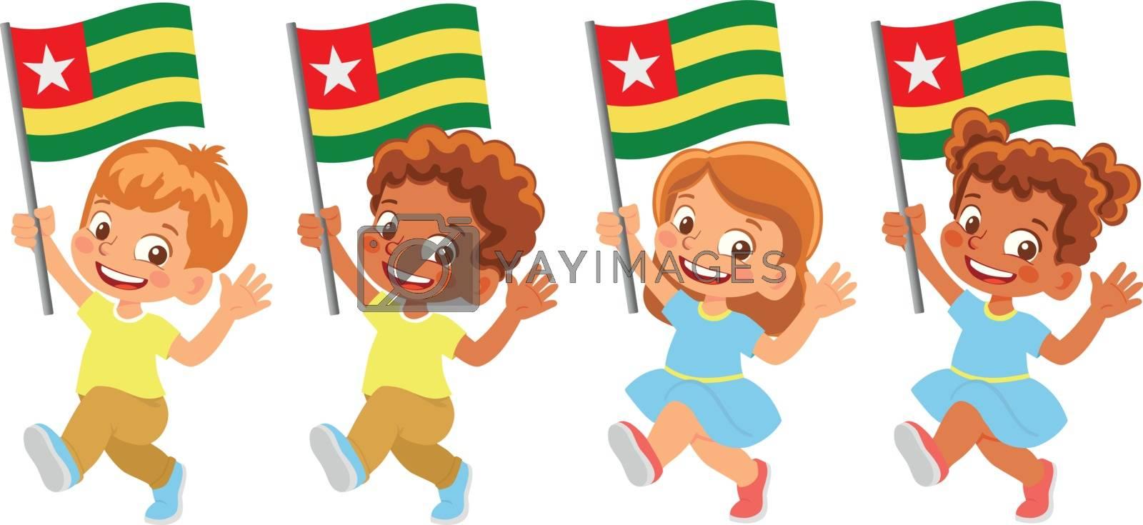 Togo flag in hand. Children holding flag. National flag of Togo vector