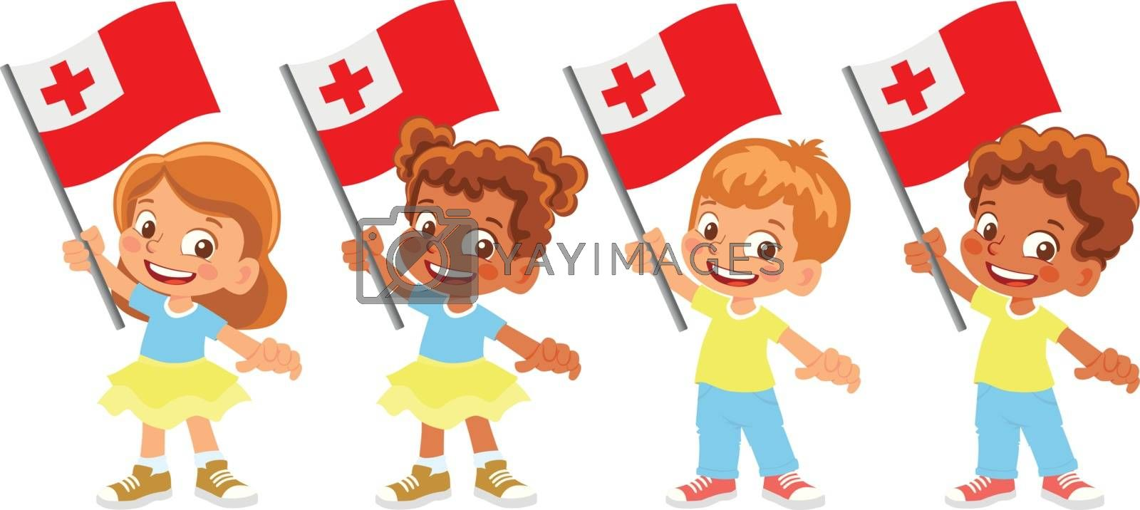 Tonga flag in hand set by Visual-Content