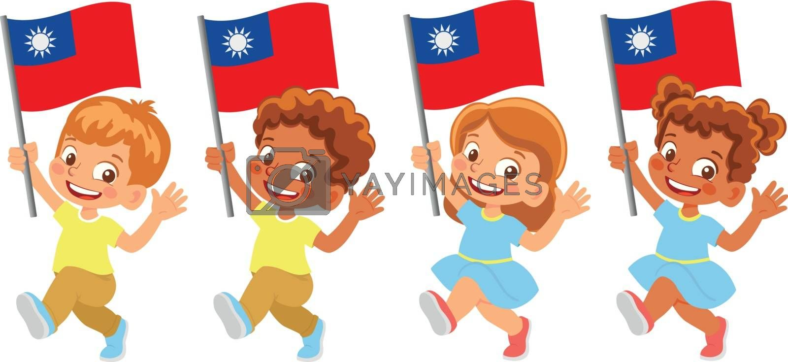 Taiwan flag in hand set by Visual-Content