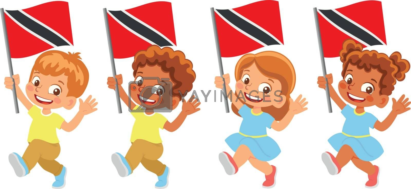 Trinidad and Tobago flag in hand set by Visual-Content