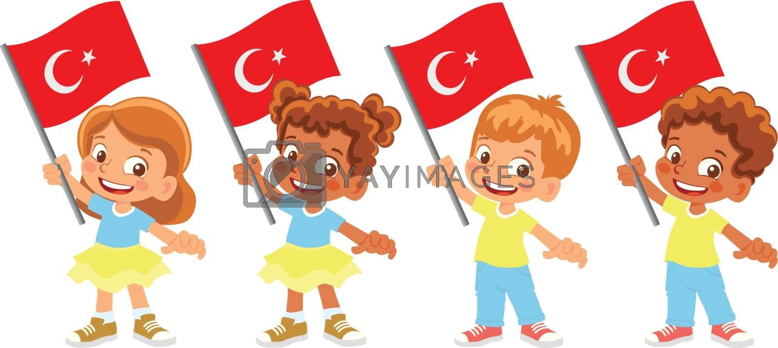 Turkey flag in hand set by Visual-Content