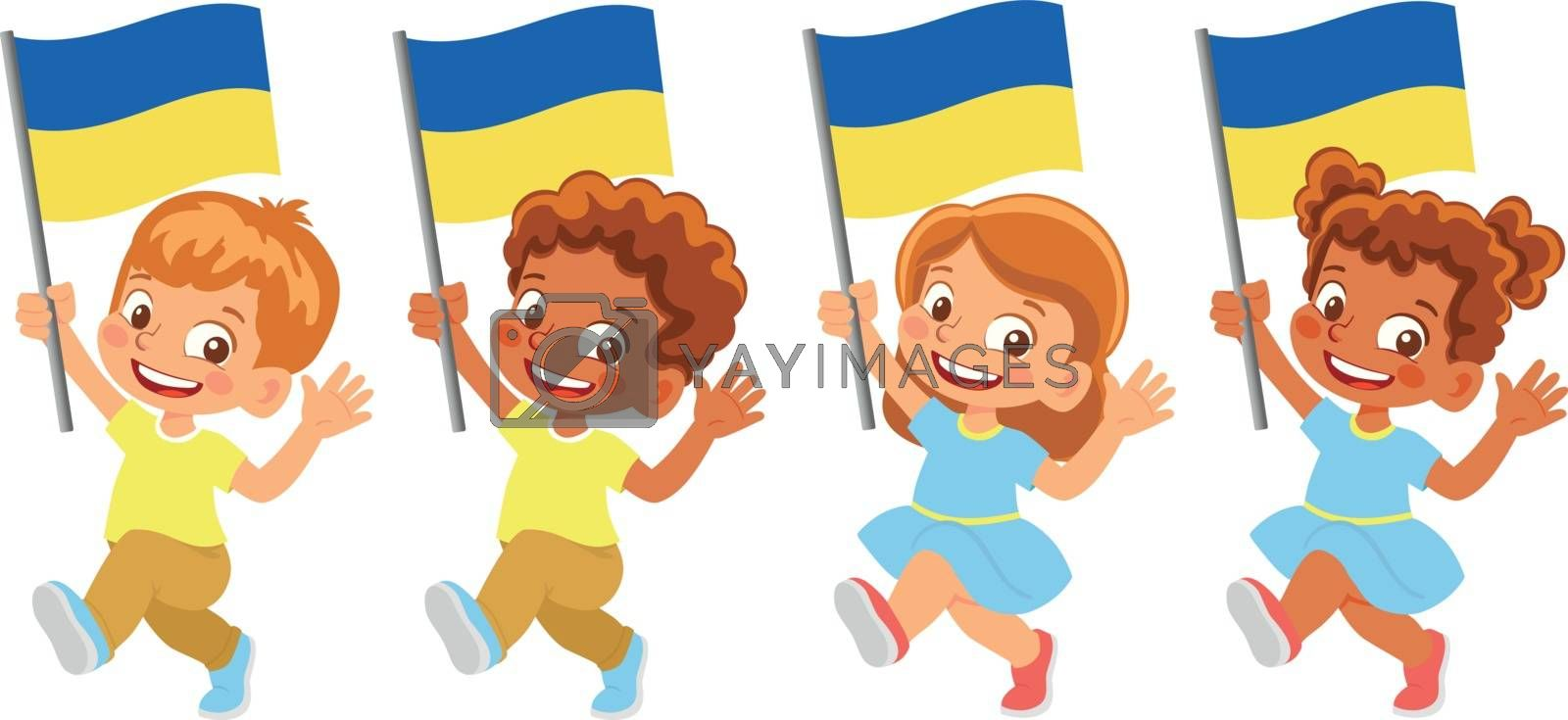 Ukraine flag in hand set by Visual-Content