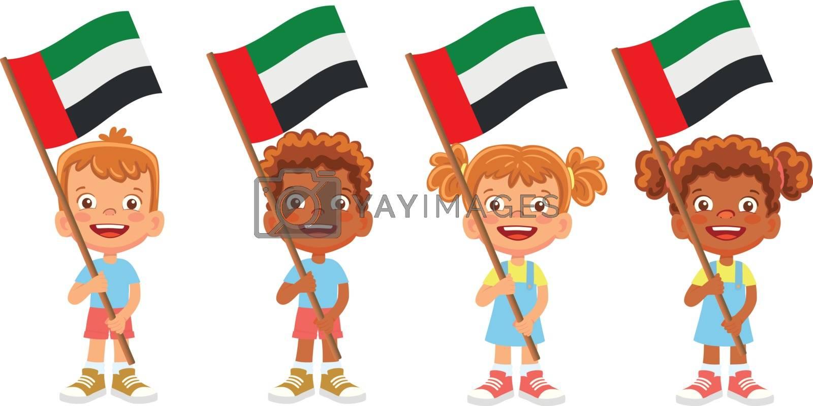 United arab emirates flag in hand. Children holding flag. National flag of United arab vector