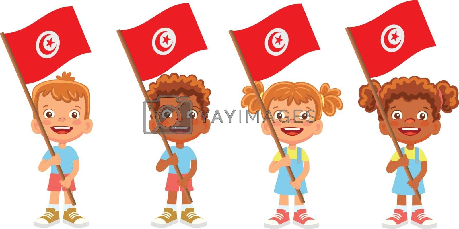 Tunisia flag in hand set by Visual-Content