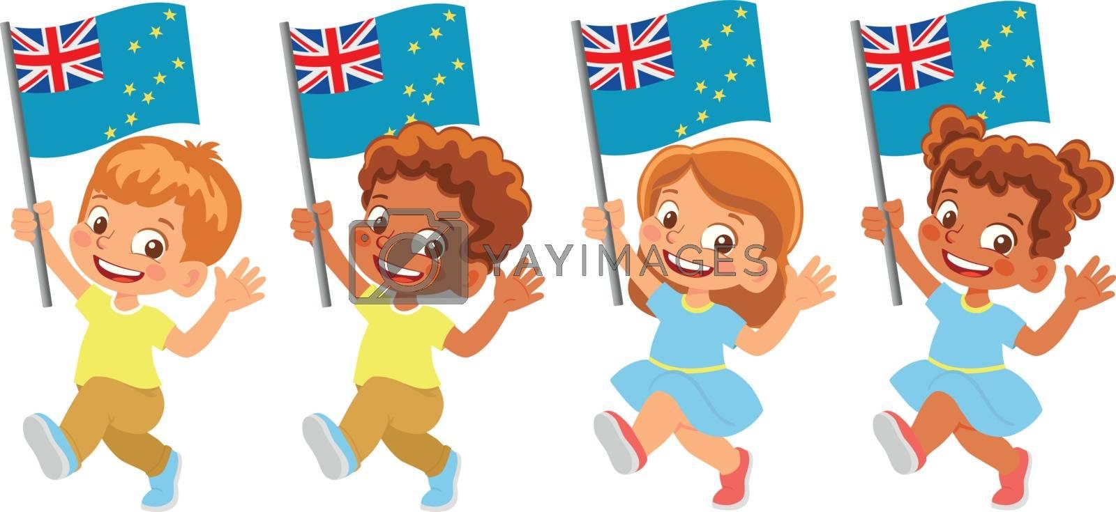 Tuvalu flag in hand. Children holding flag. National flag of Tuvalu vector