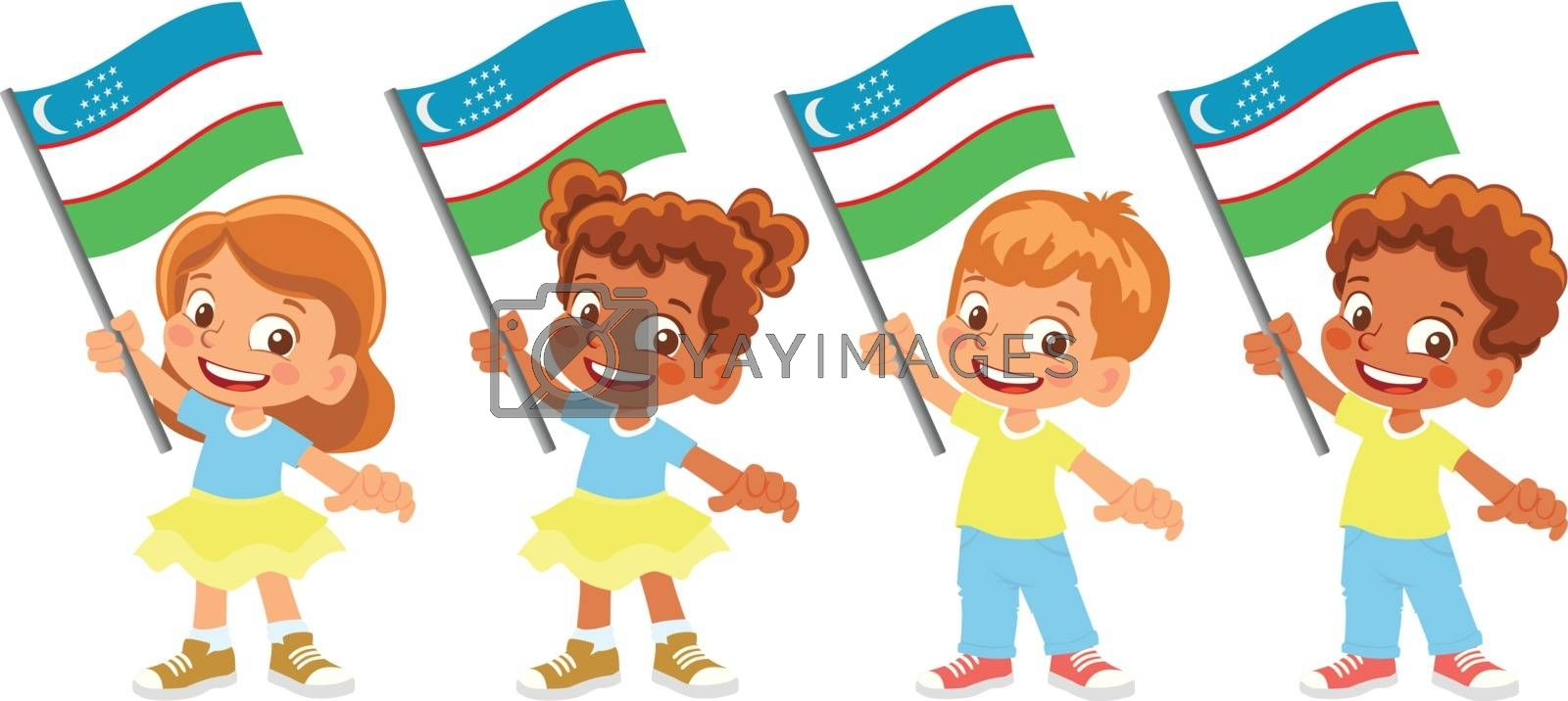 Uzbekistan flag in hand set by Visual-Content