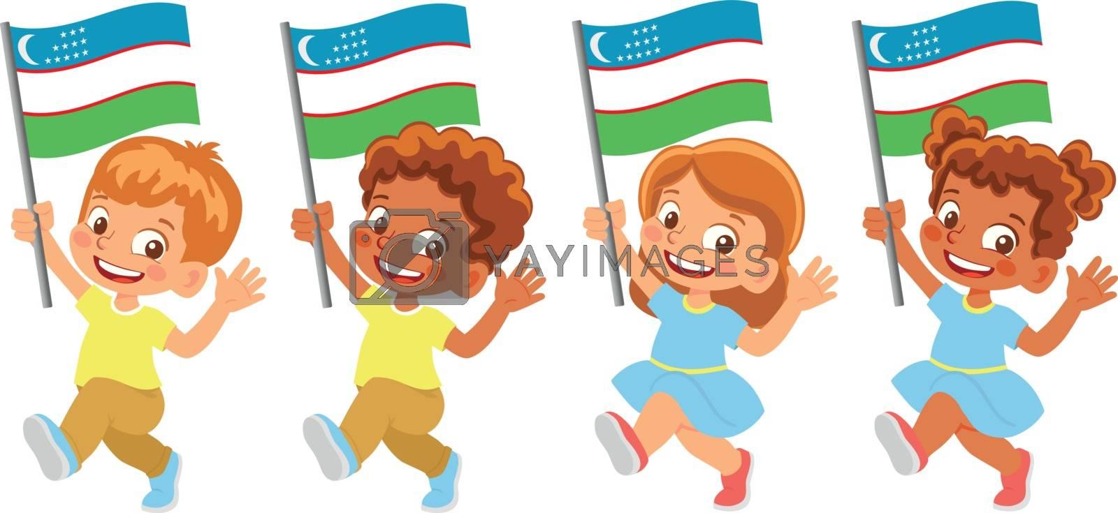 Uzbekistan flag in hand. Children holding flag. National flag of Uzbekistan vector
