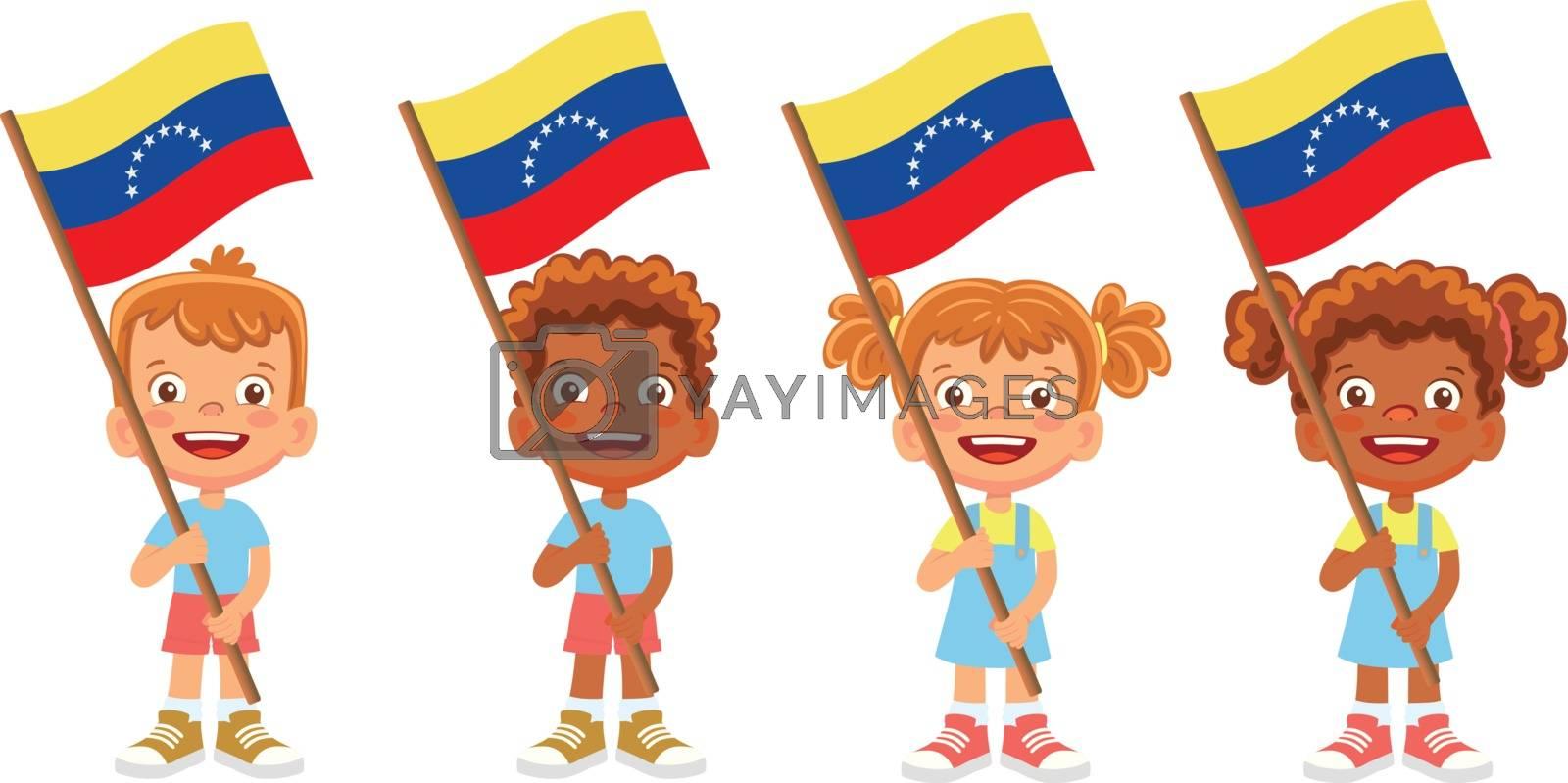 Venezuela flag in hand. Children holding flag. National flag of Venezuela vector