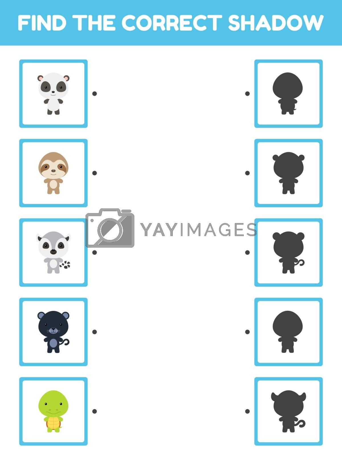 Game template find correct shadow. Matching game for children with cute cartoon animals. Kids activity page for book. Education developing worksheet. Logical thinking training. Vector illustration.