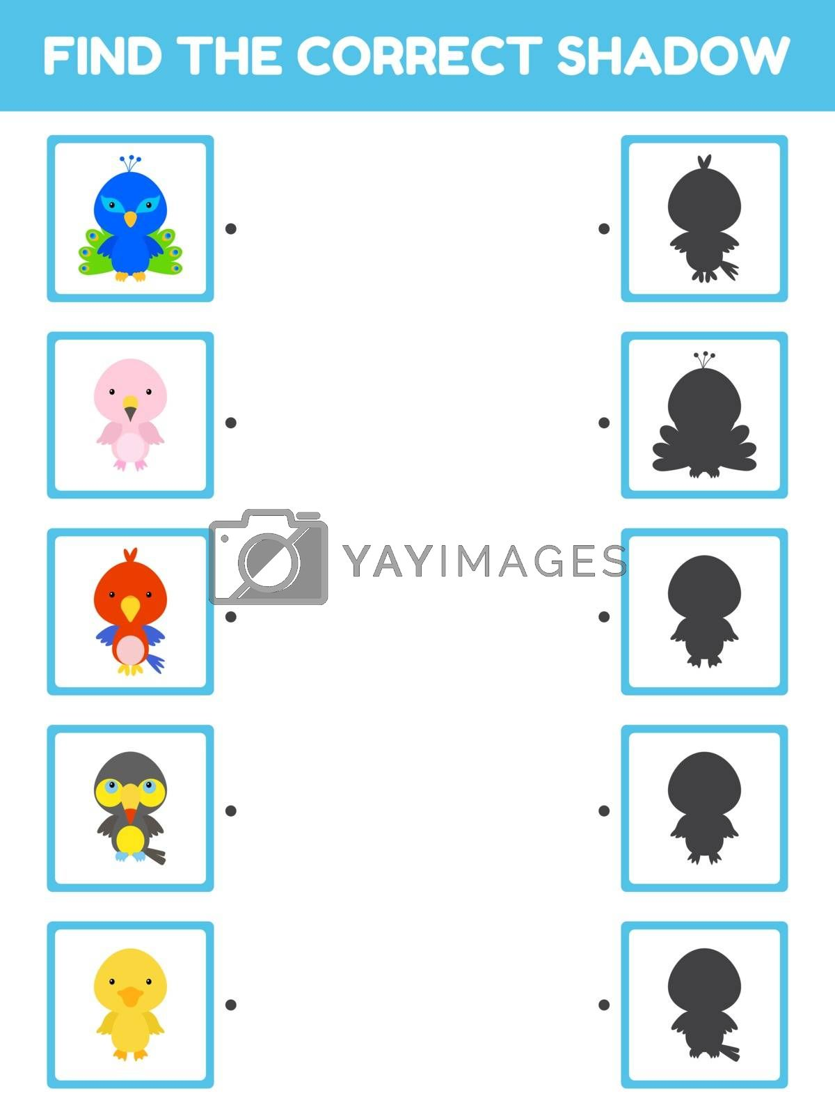 Game template find correct shadow. Matching game for children with cute cartoon bids. Kids activity page for book. Education developing worksheet. Logical thinking training. Vector illustration.