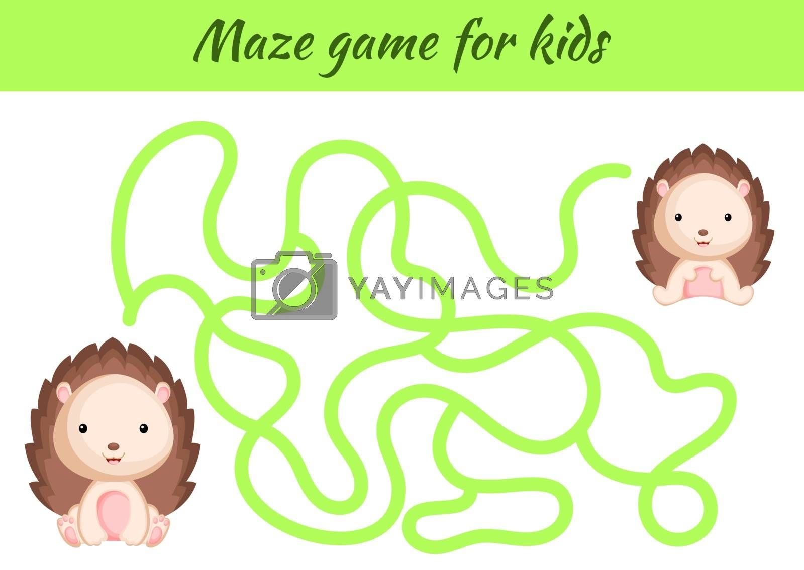 Funny maze or labyrinth game for kids. Help mother find path to baby. Education developing worksheet. Activity page. Cartoon hedgehog characters. Riddle for preschool. Color vector stock illustration.