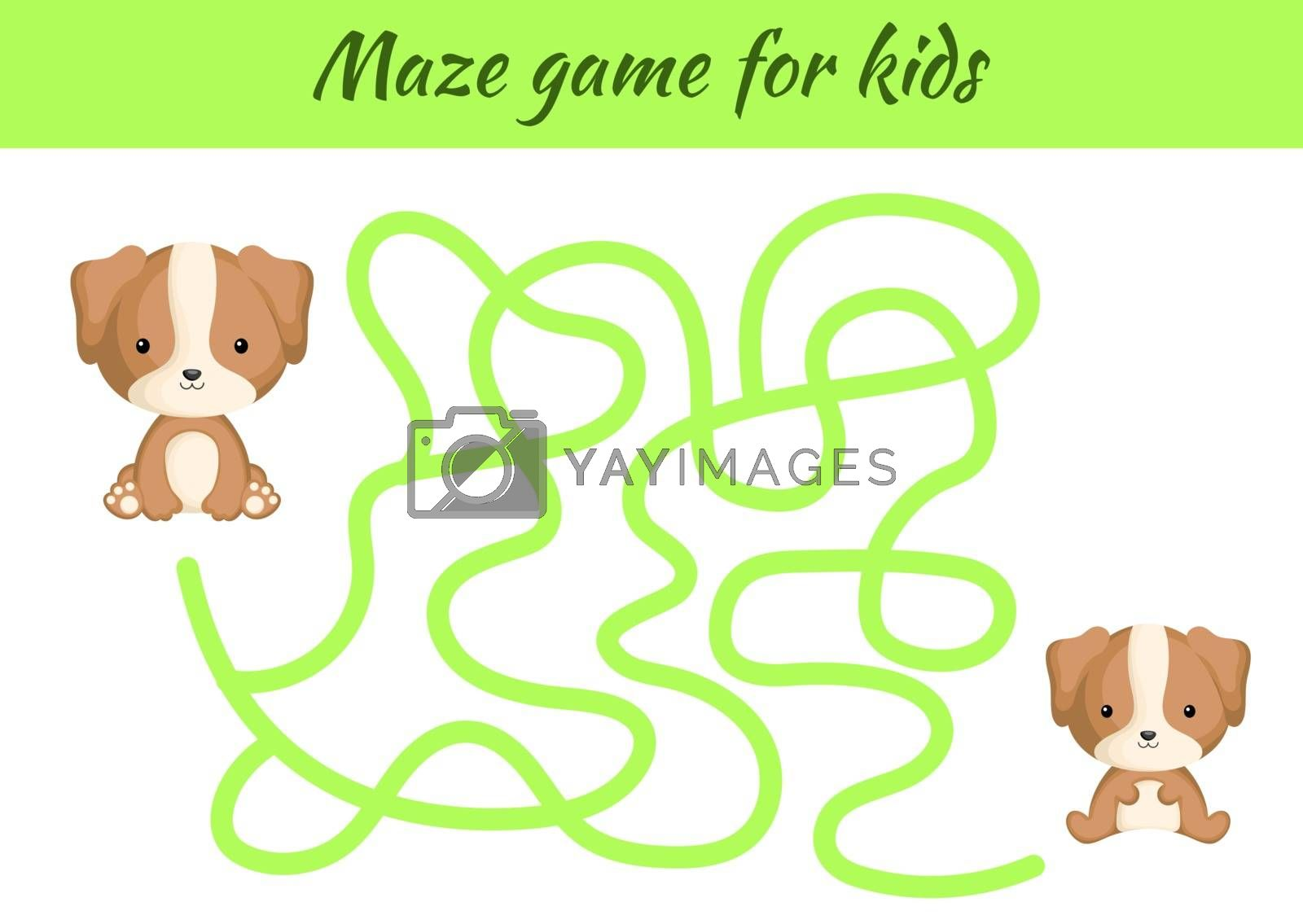 Funny maze or labyrinth game for kids. Help mother find path to baby. Education developing worksheet. Activity page. Cartoon dog characters. Riddle for preschool. Color vector stock illustration.