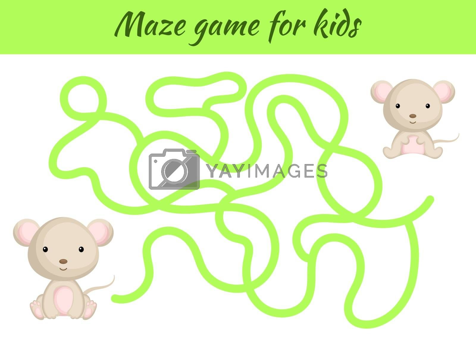 Funny maze or labyrinth game for kids. Help mother find path to baby. Education developing worksheet. Activity page. Cartoon mouse characters. Riddle for preschool. Color vector stock illustration.