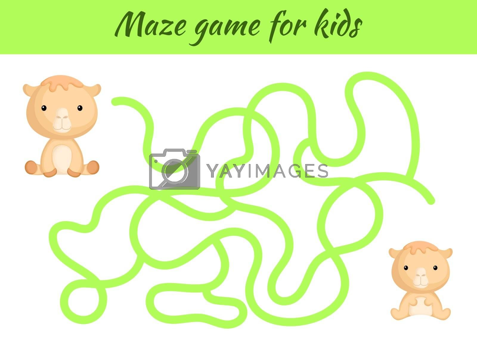 Funny maze or labyrinth game for kids. Help mother find path to baby. Education developing worksheet. Activity page. Cartoon camel characters. Riddle for preschool. Color vector stock illustration.