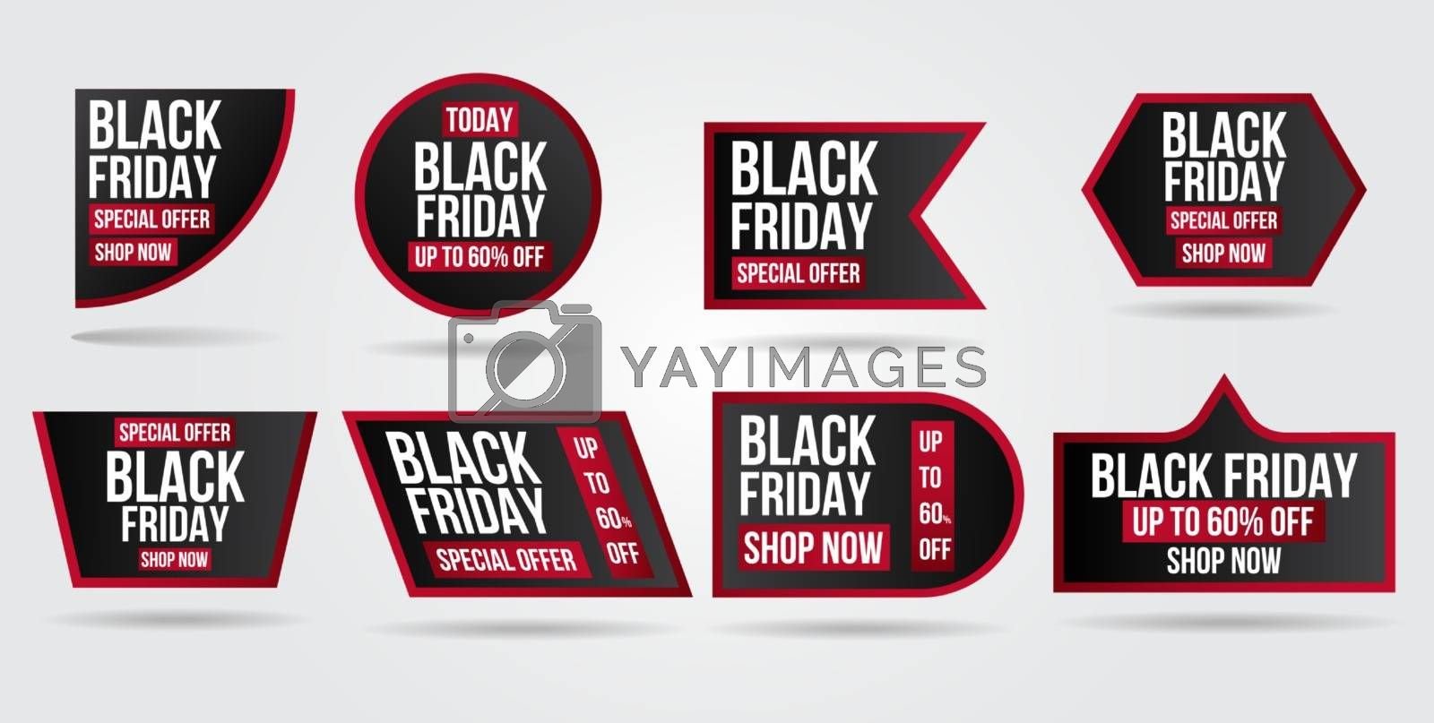 Black Friday sale set banner and flyer with sale promo collection.Modern design layout template.Shopping day sale offer poster, flyer, card. Vector background.