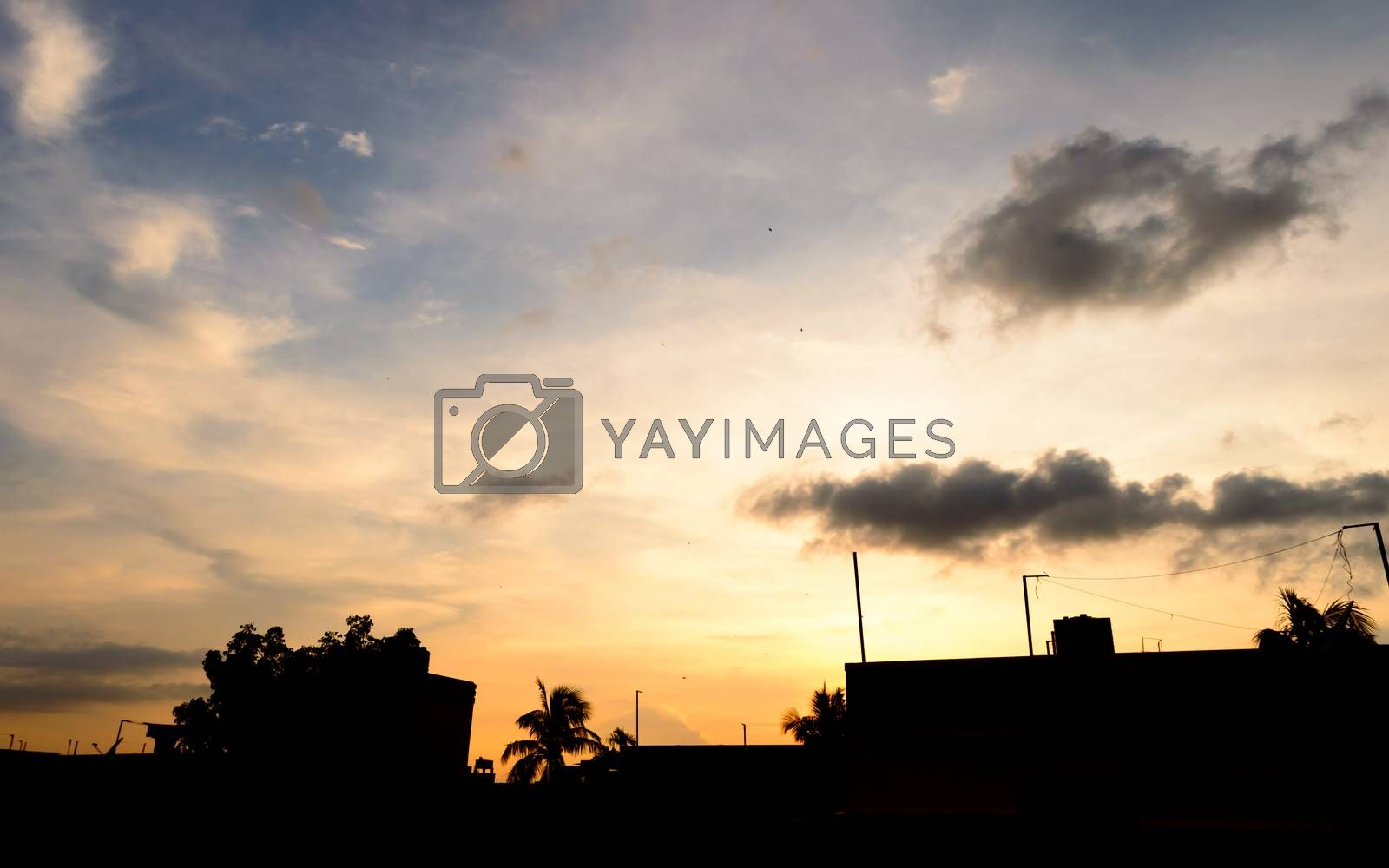 Kolkata city skyline silhouette at sunset. Just before the the Sun goes down.