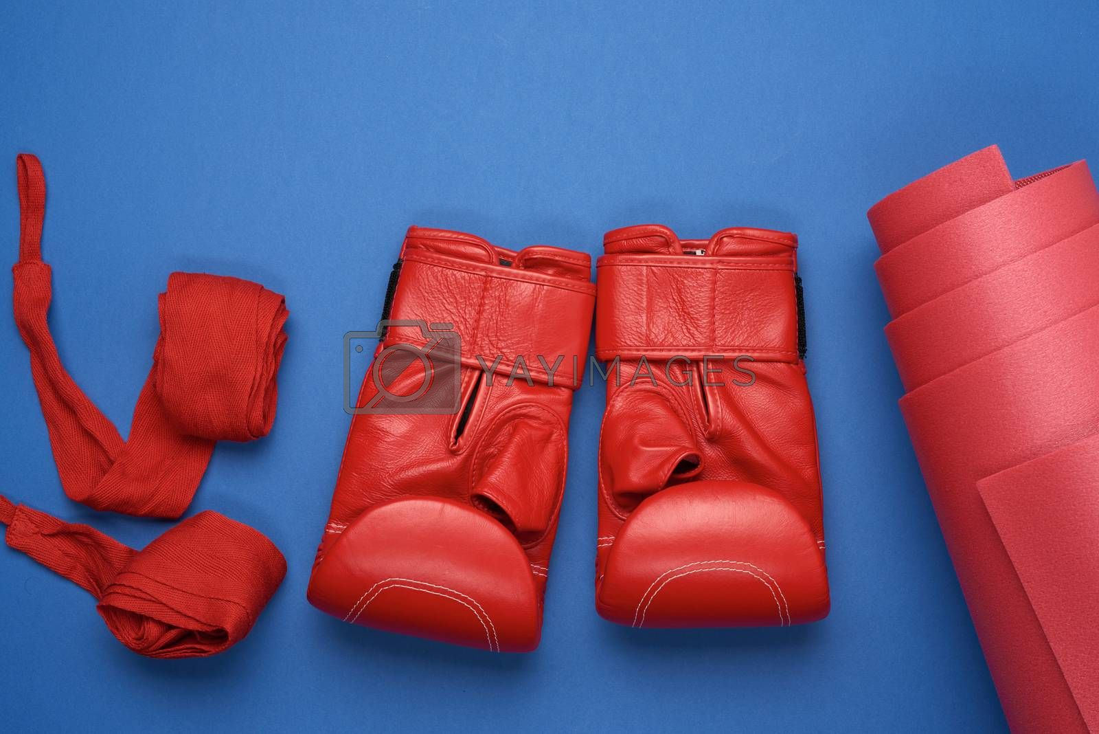 pair of red leather boxing gloves and a textile red elastic bandage for hands lie on a blue background, sports set, flat lay