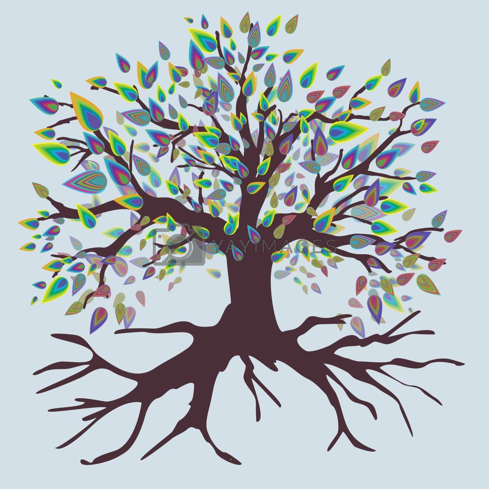 A tree of life with leaf shaped rainbow colored leafs.