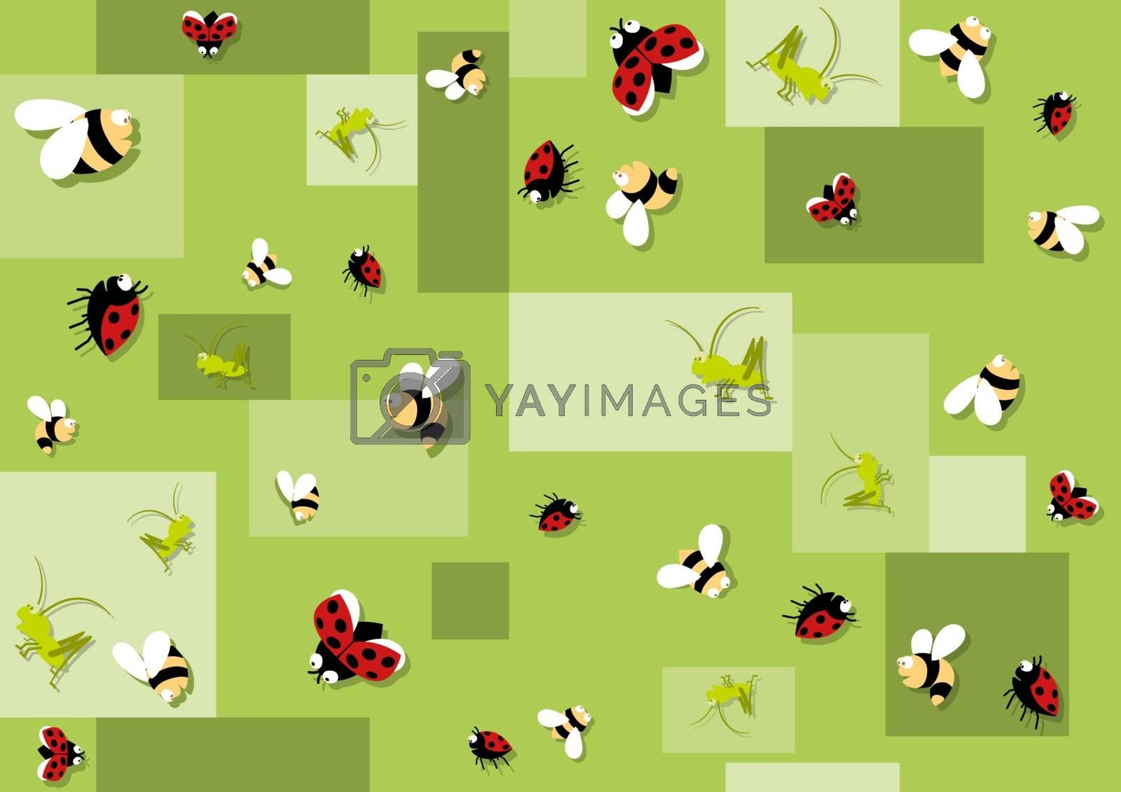 Seamless Baby Pattern with Bees and Beetles on Green Background - Repetitive Print Texture, Vector Illustration