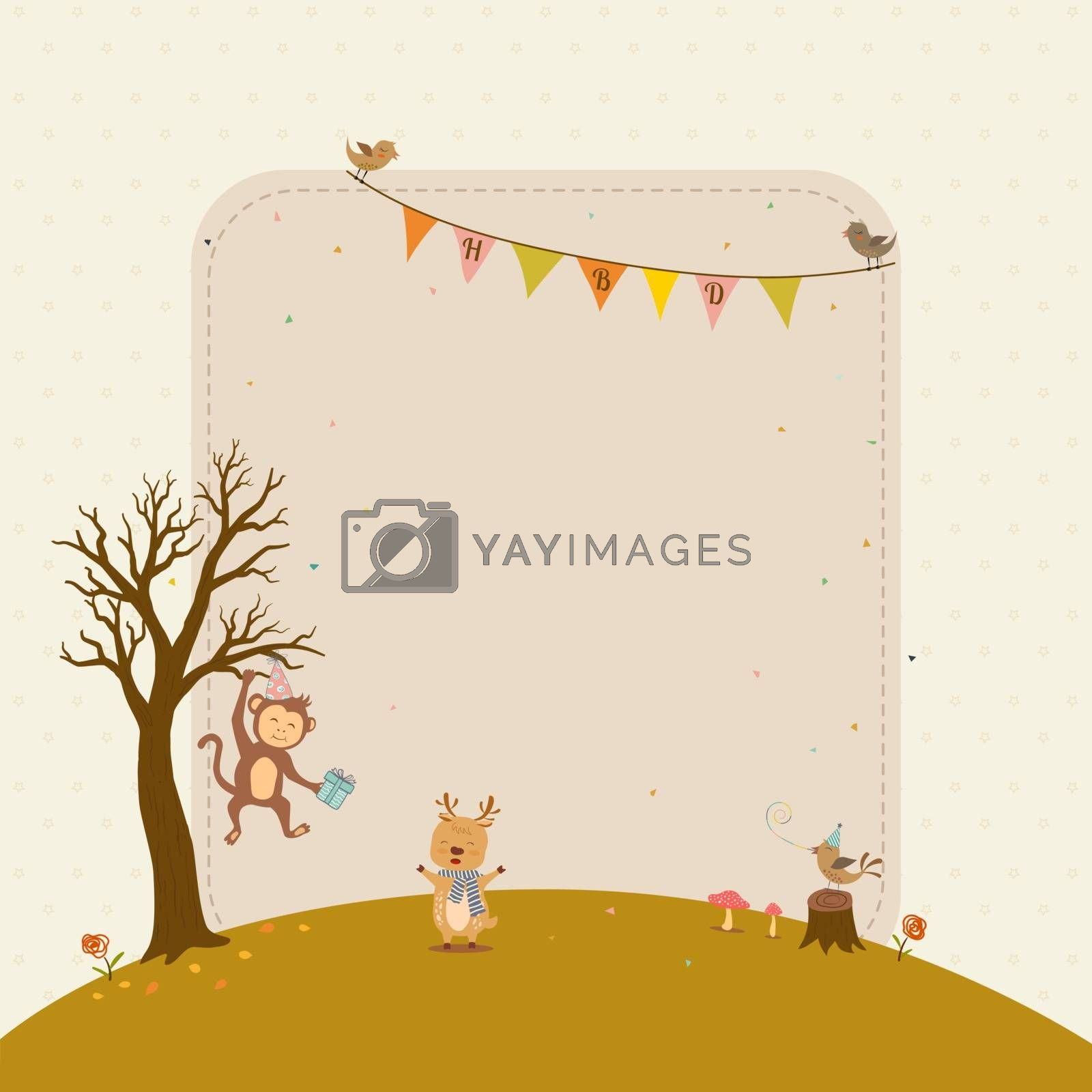 Happy birthday card with cute animals cartoon,for celebrate party,greeting card or invitation by PIMPAKA